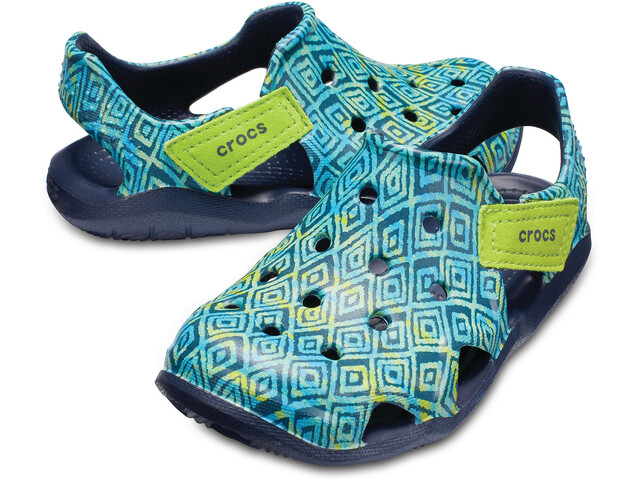Crocs Swiftwater Wave Graphic Slippers Kinder navy